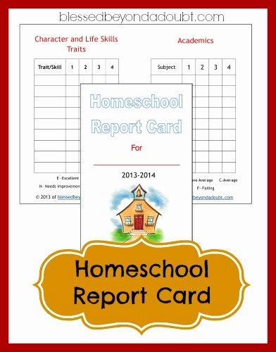 Homeschool Grading Template Best Of Free Homeschool Report Card form Blessed Beyond A Doubt