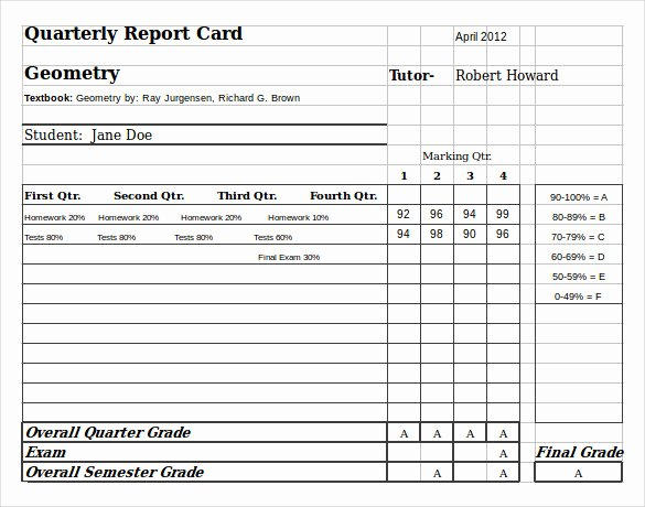 Homeschool Grading Template Lovely Sample Homeschool Report Card 7 Documents In Pdf Word