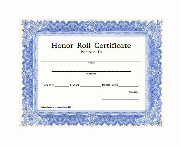 Honorary Certificate Template Inspirational 8 Printable Honor Roll Certificate Templates & Samples
