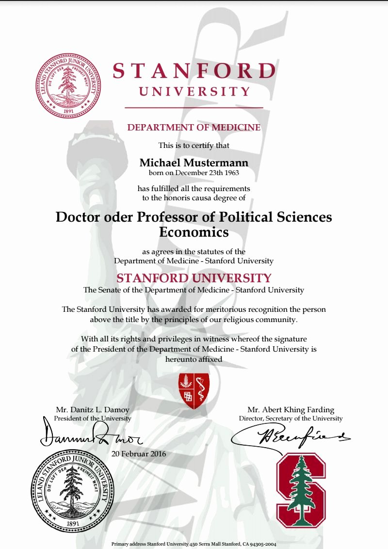 Honorary Certificate Template Lovely Doktortitel Kaufen Stanford University