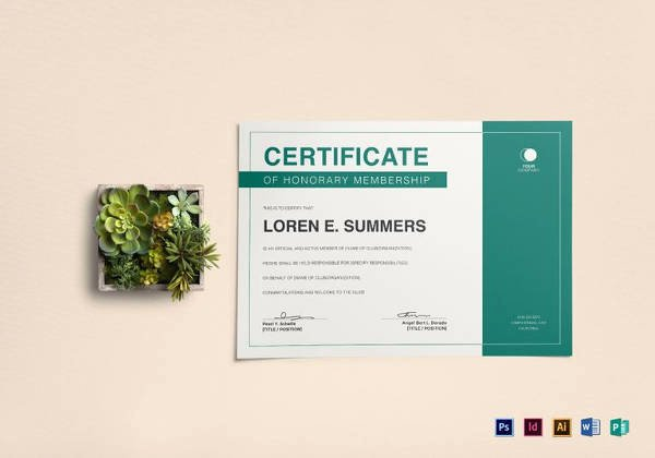 Honorary Certificate Template Lovely Membership Certificate Template 15 Free Sample Example