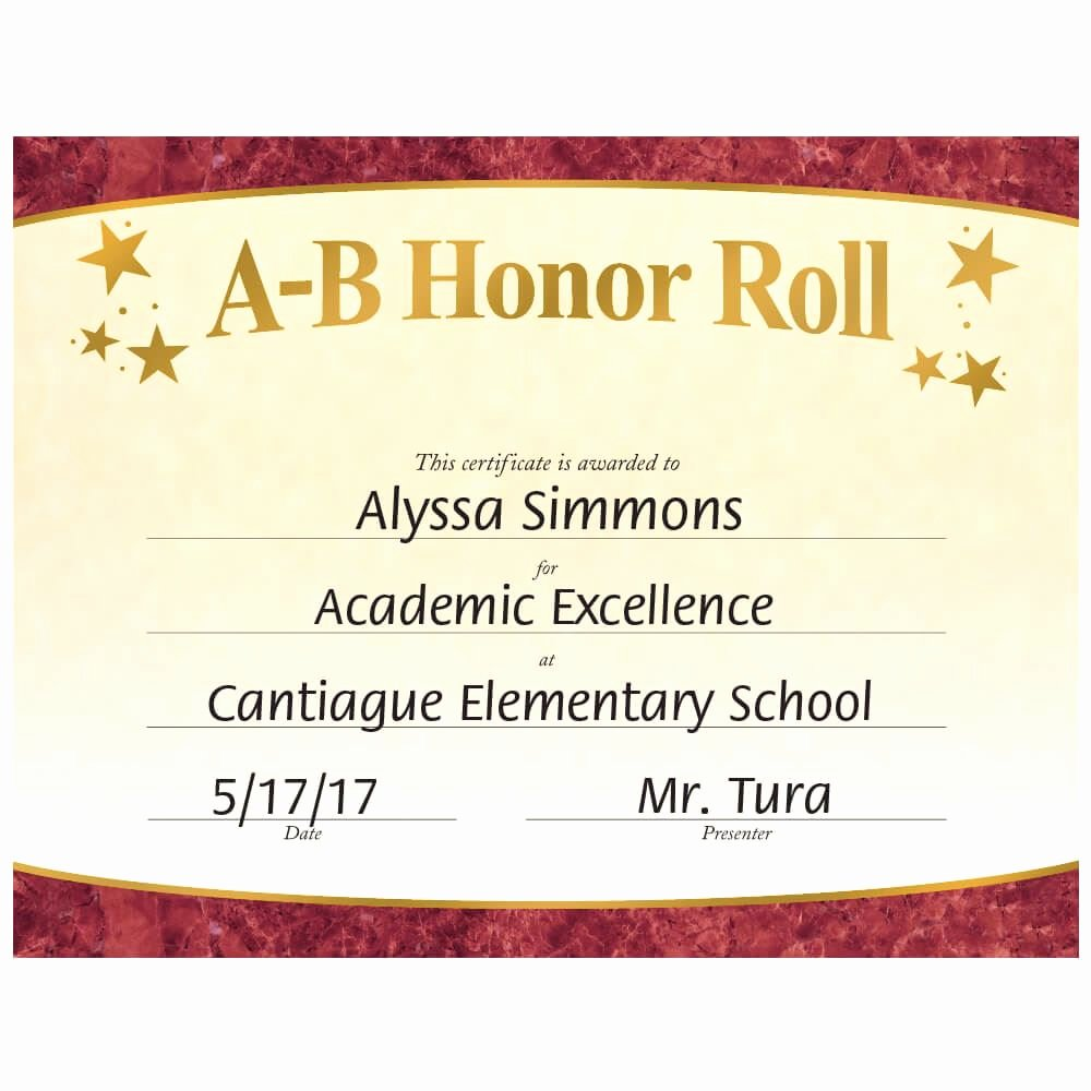 Honorary Certificate Template Luxury A B Honor Roll Gold Foil Stamped Certificates