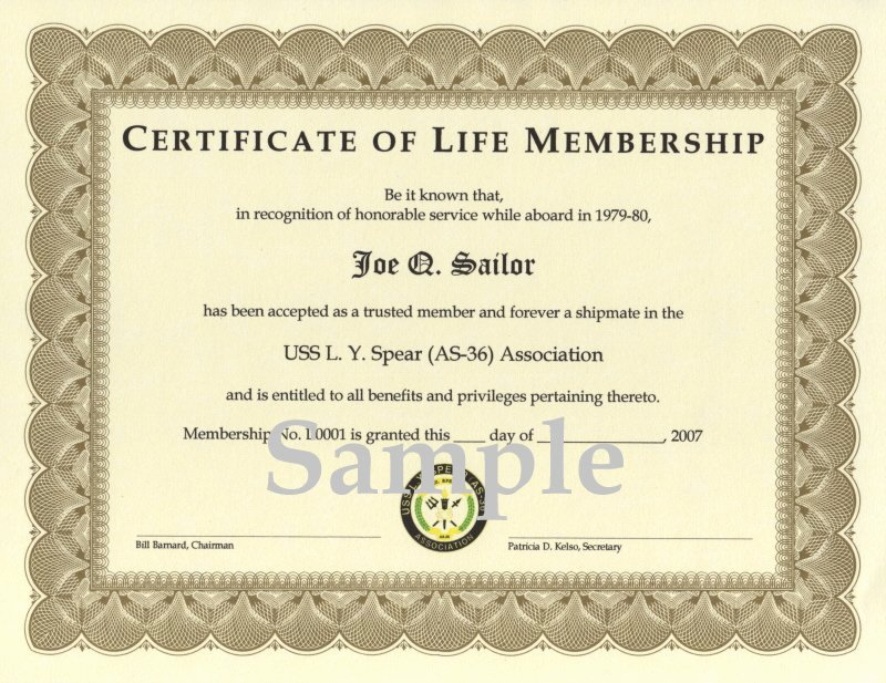 Honorary Certificate Template Luxury Uss L Y Spear as 36 association association Membership