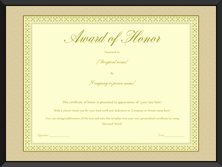 Honorary Certificate Template Unique Award Of Honor Certificate Template Editable for Word