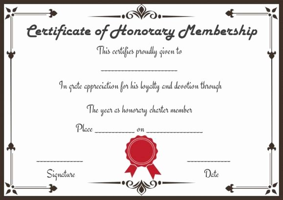 Honorary Certificate Template Unique Free Membership Certificates 14 Templates In Word format