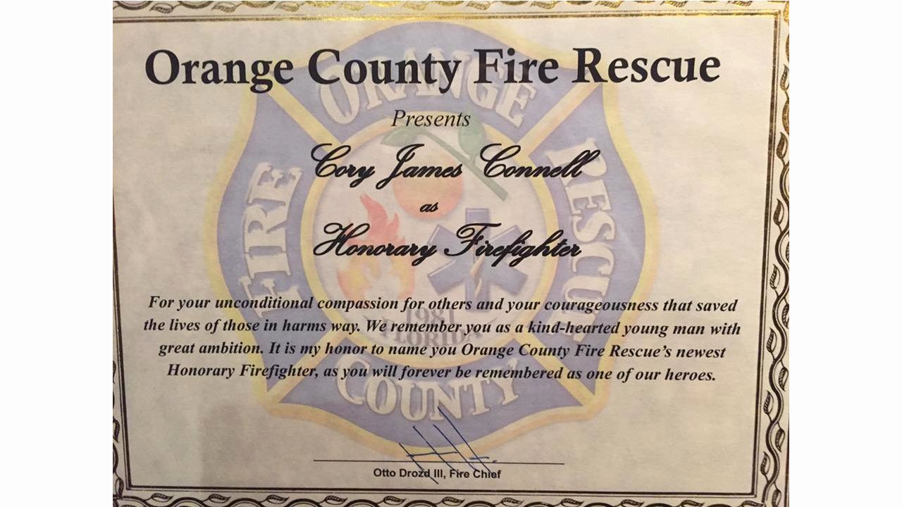 Honorary Firefighter Certificate Beautiful orange County Fire Makes Pulse Nightclub Victim Cory