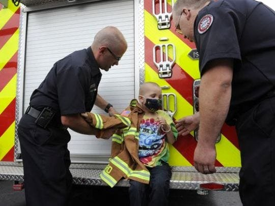 Honorary Firefighter Certificate Beautiful Young Boy Fighting Cancer S Honor From Firefighters