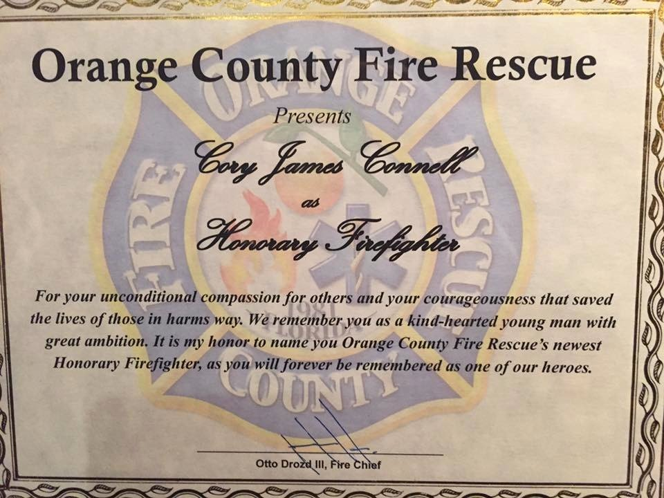 Honorary Firefighter Certificate Fresh orange County Fire Makes Pulse Nightclub Victim Cory