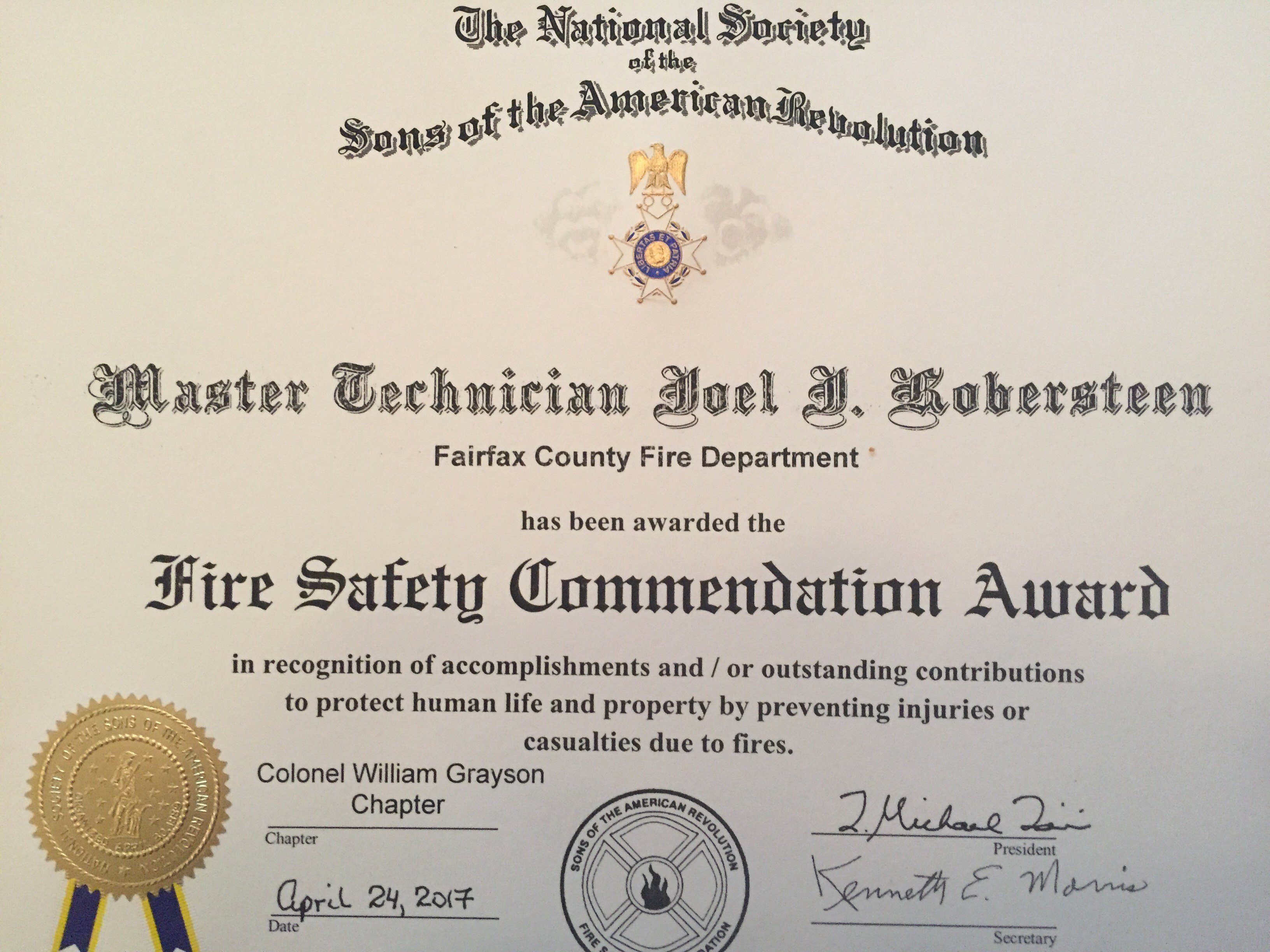 Honorary Firefighter Certificate Lovely sons the American Revolution Honor Two Firefighters