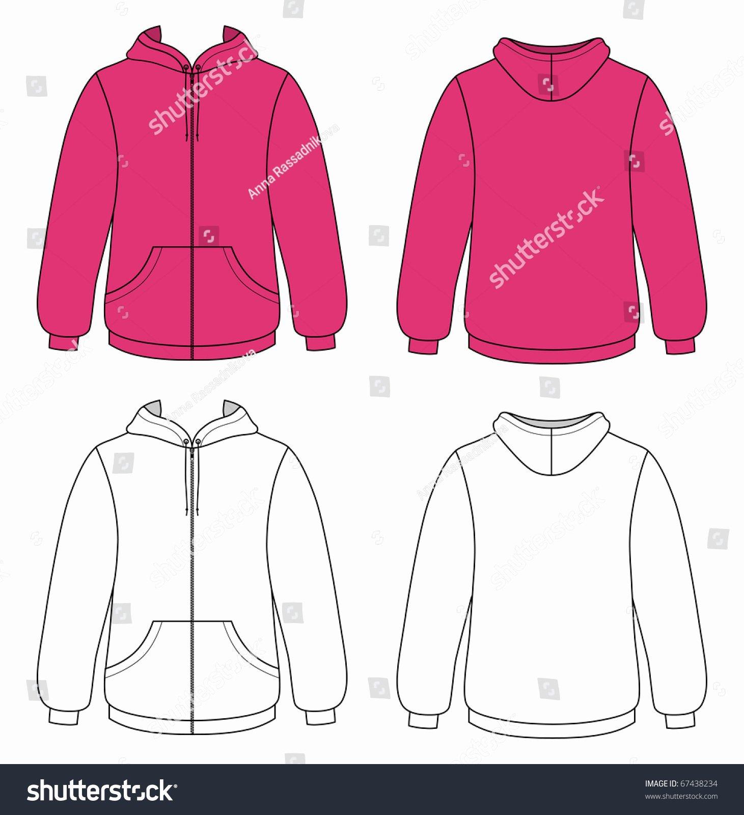 Hooded Sweatshirt Template Elegant Template Outline Illustration Blank Hooded Sweater Stock