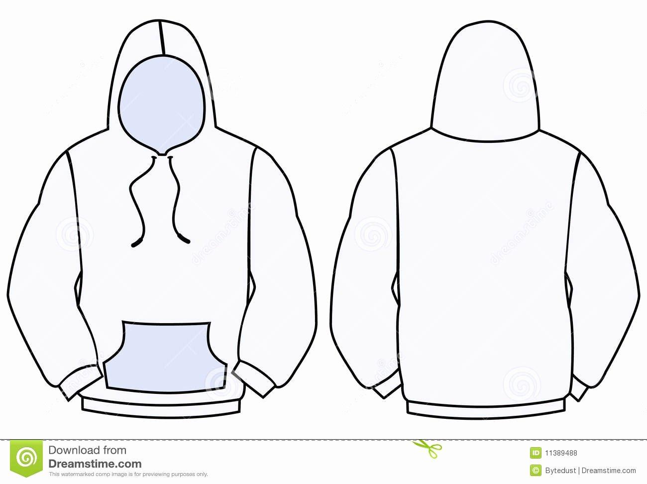 Hooded Sweatshirt Template Unique Hoo Vector Template Stock Vector Illustration Of Rear