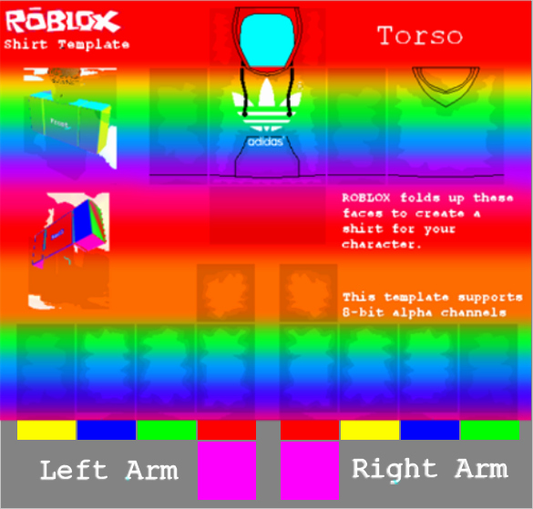 Hoodie Template Roblox New Rainbow Adidas Hoo Shirt Template Rbxleaks