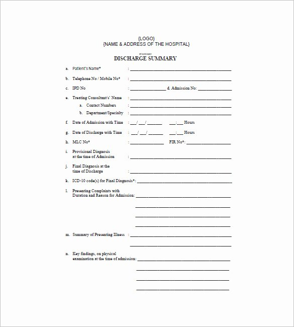 Hospital Discharge Papers Template Awesome Blank Hospital Discharge Papers Pertamini