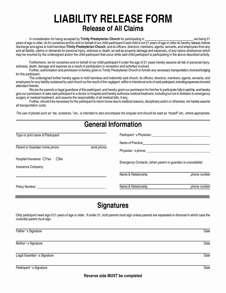 Hospital Release form Template Beautiful General Liability Waiver form