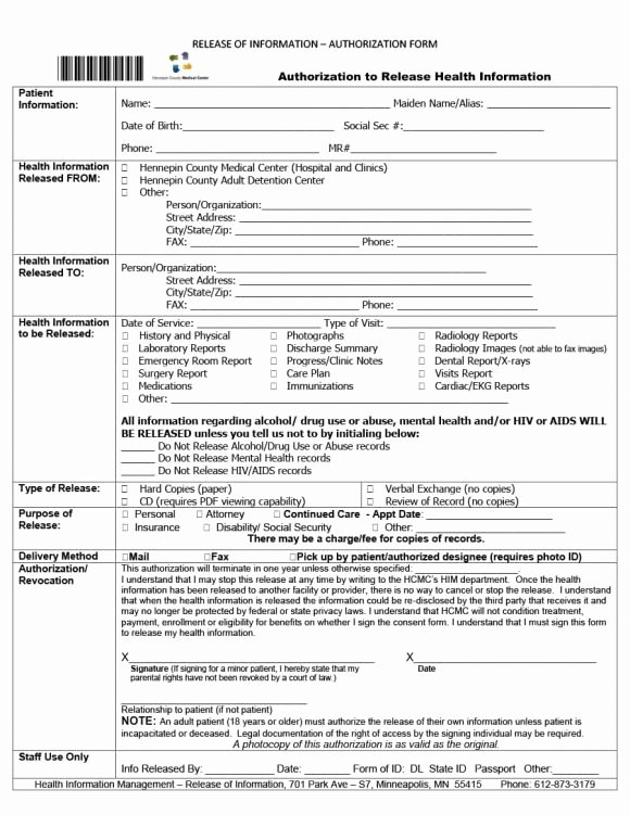 Hospital Release form Template Luxury 40 Medical Records Release form Release Of Information