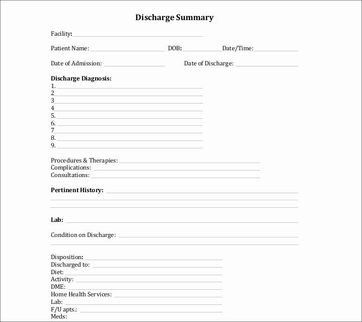 Hospital Release form Template Luxury 9 Discharge Summary Templates Pdf Doc