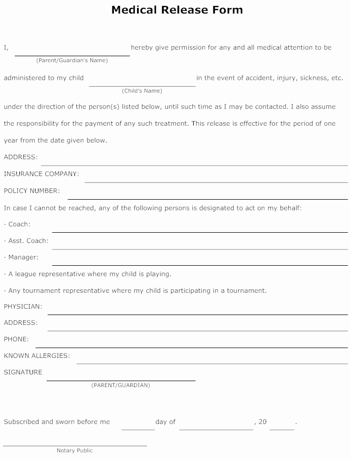 Hospital Release form Template Luxury Example Image Medical Release form Templets