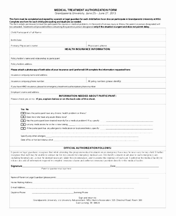 Hospital Release form Template New 6 Authorization to Release Medical Records form Template