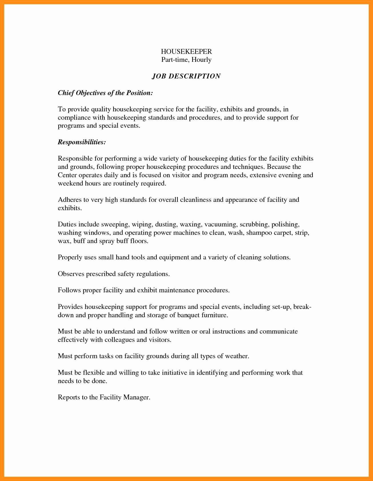 Hotel Housekeeping Job Description for Resume Best Of 11 12 Housekeeper Job Duties for Resume