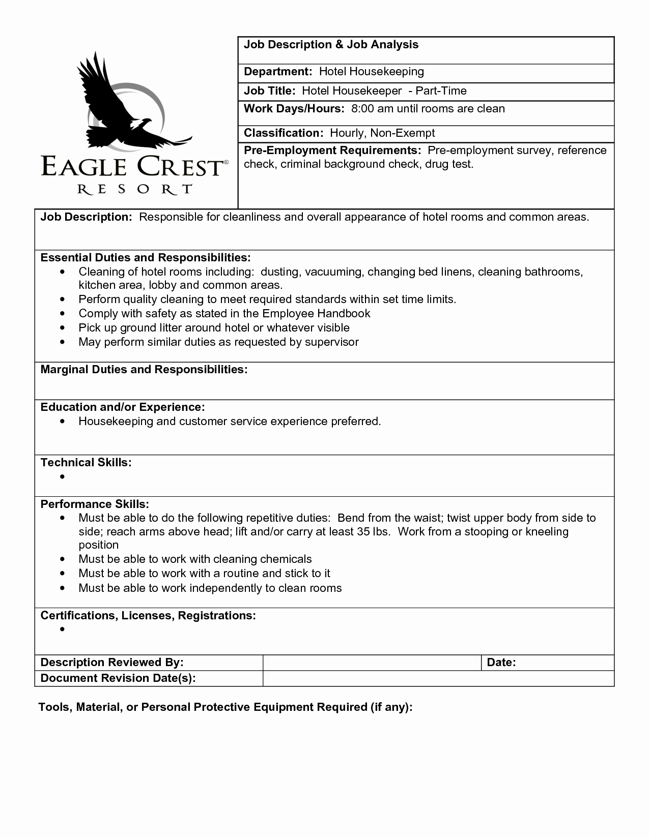 Hotel Housekeeping Job Description for Resume Best Of Best S Of Hotel Housekeeping Duties Hotel