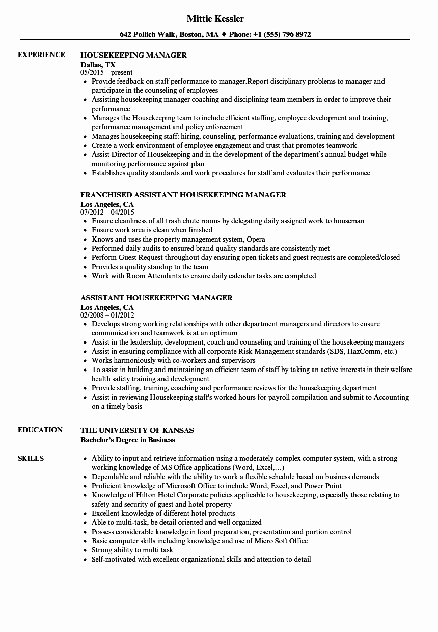 Hotel Housekeeping Job Description for Resume Elegant Housekeeping Manager Interview Questions and Answers