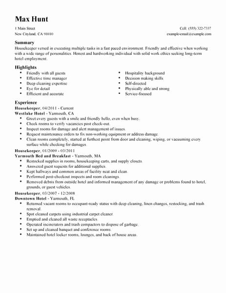 Hotel Housekeeping Job Description for Resume Lovely Best Housekeeper Resume Example
