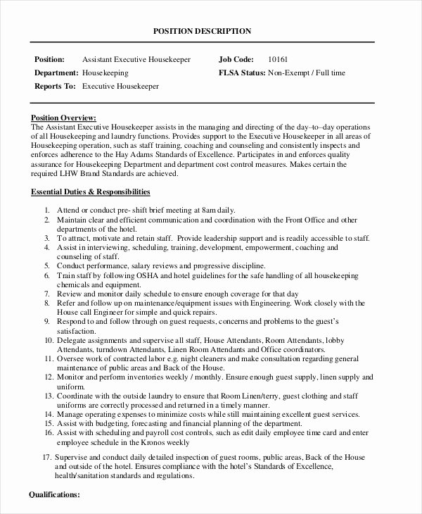 Hotel Housekeeping Job Description for Resume Lovely Housekeeper Job Description Example 14 Free Word Pdf