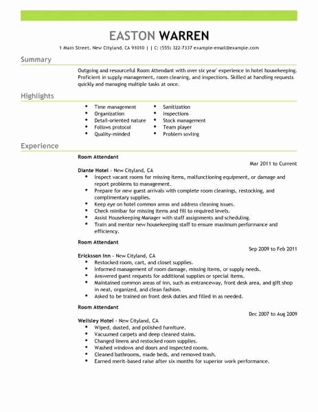 Hotel Housekeeping Job Description for Resume Unique Best Room attendant Resume Example