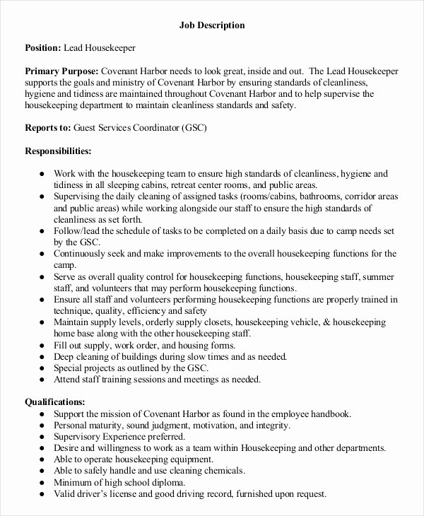 Hotel Housekeeping Job Description for Resume Unique Housekeeper Job Description Example 14 Free Word Pdf