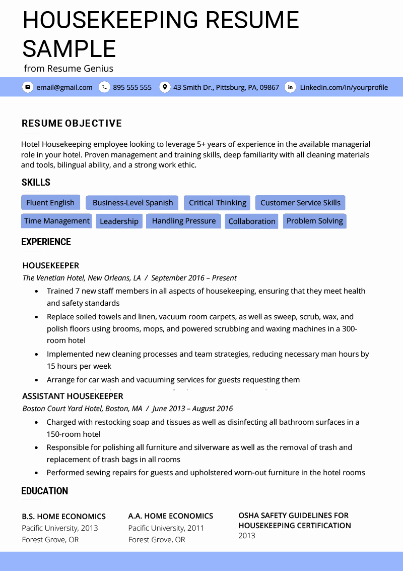 Hotel Housekeeping Job Description for Resume Unique Housekeeping Resume Example & Writing Tips