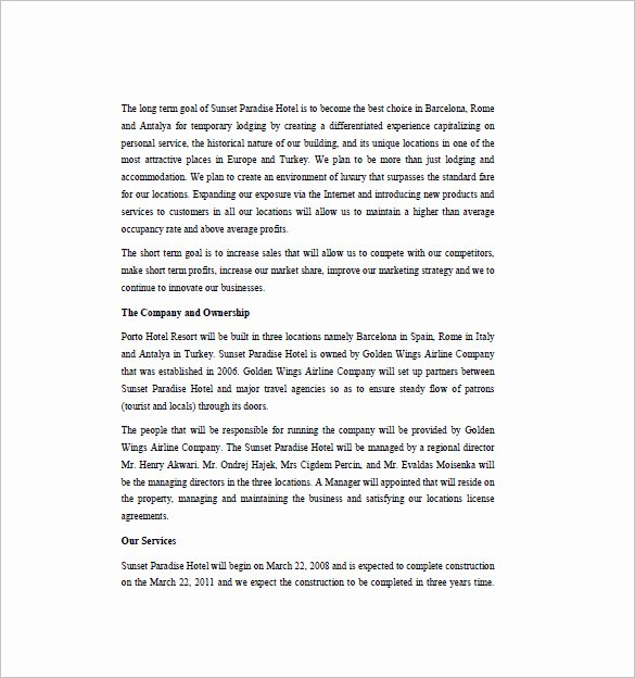 Hotel Proposal Template Best Of 16 Hotel Business Plan Templates Pdf Google Docs Ms