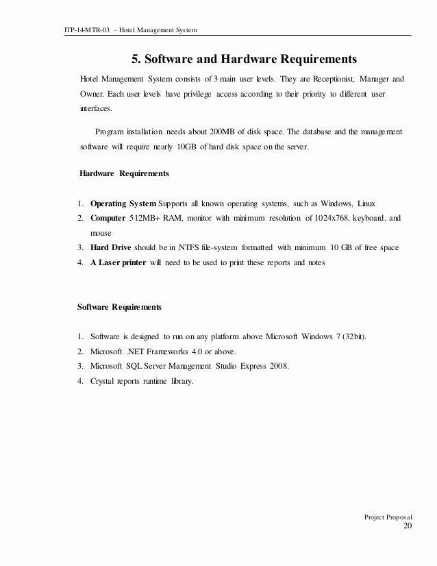 Hotel Proposal Template Inspirational Project Proposal Document for Hotel Management System