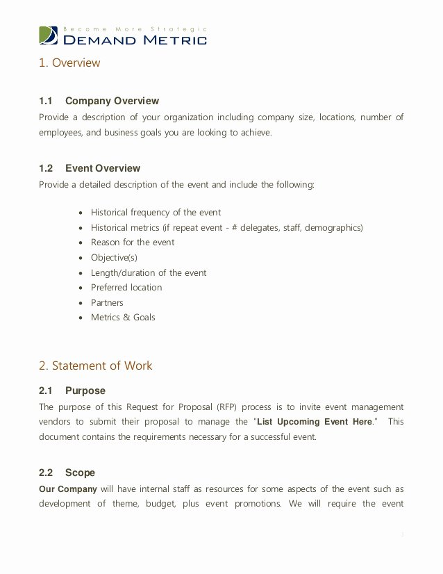 Hotel Request for Proposal Template Luxury event Management Rfp Template