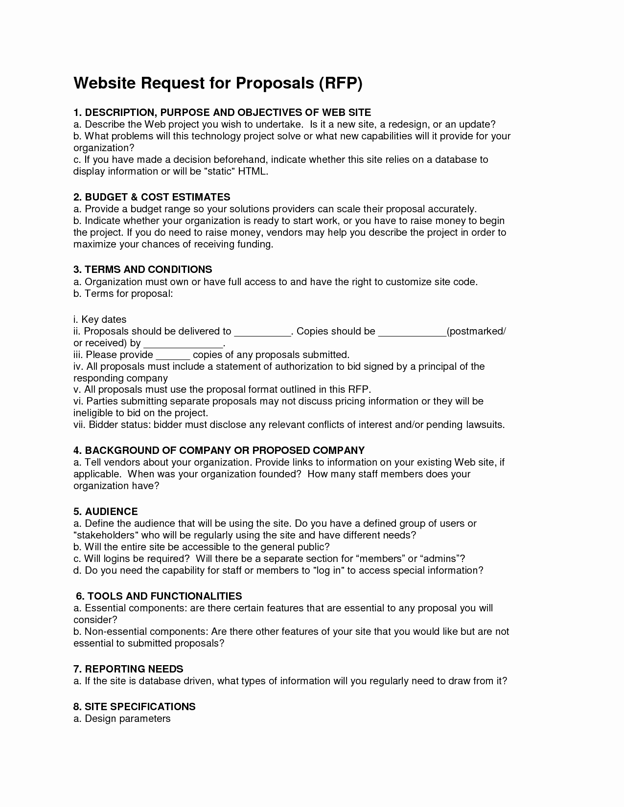 Hotel Rfp Template Awesome 25 Of Sample Rfp Template