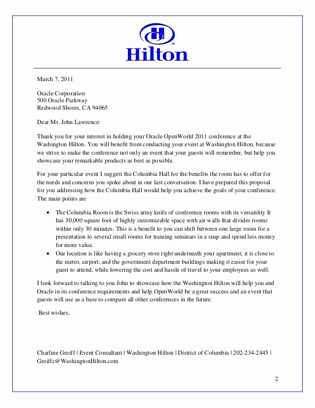 Hotel Rfp Template Best Of Hilton Sales Proposal Work Example