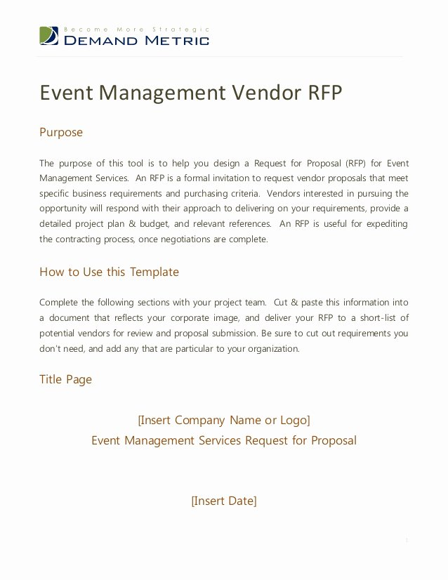 Hotel Rfp Template New event Management Rfp Template
