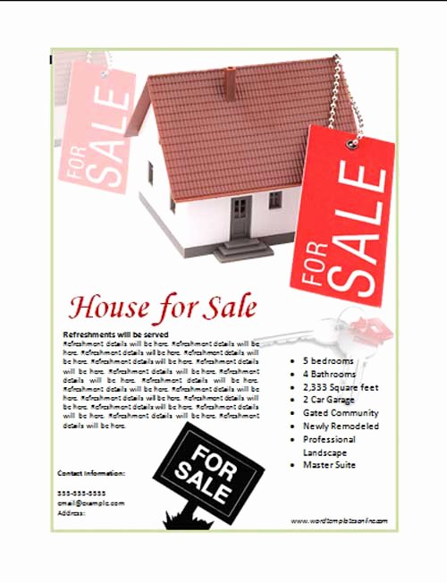 House for Sale Template Beautiful House for Sale Poster Template Microsoft Word Templates