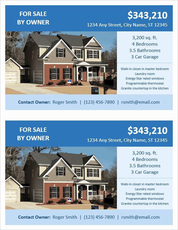 House for Sale Template Fresh Fsbo Flyer Template 2 Per Page by Vertex42