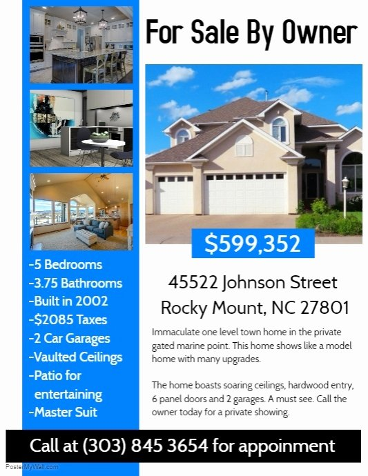 House for Sale Template Inspirational Real Estate Flyer Template