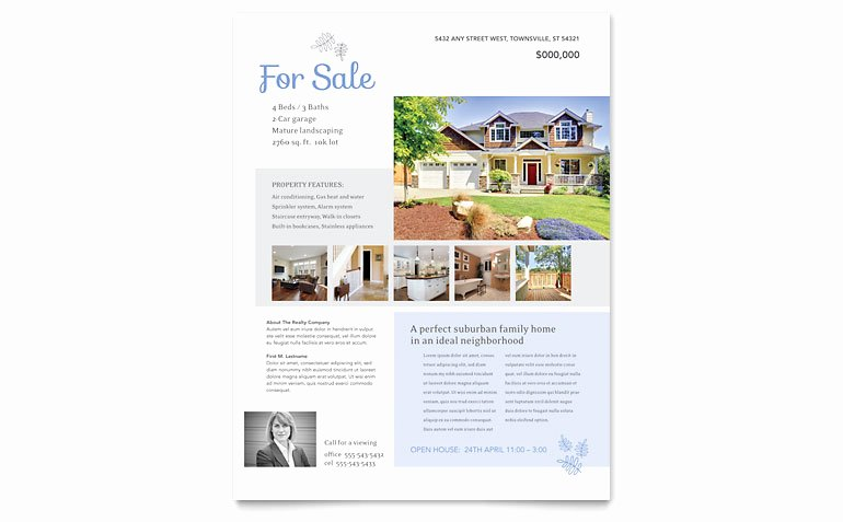 House for Sale Template Lovely Real Estate Listing Flyer Template Word & Publisher