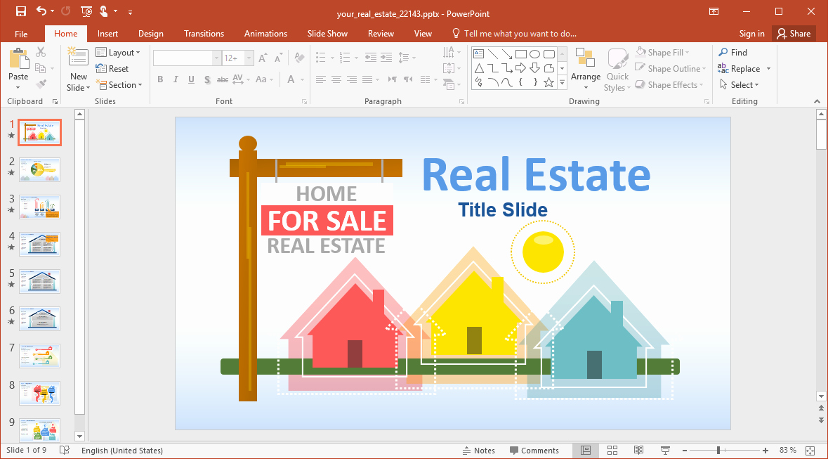 House for Sale Template Unique Animated House for Sale Powerpoint Template