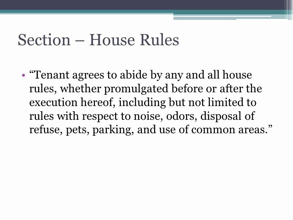 House Rules for Tenants Awesome Principles Of Property Management Ppt