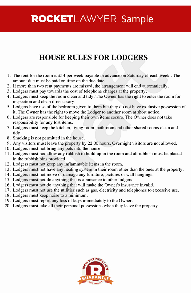 House Rules for Tenants Inspirational House Rules for Renting A Room House Rules Template
