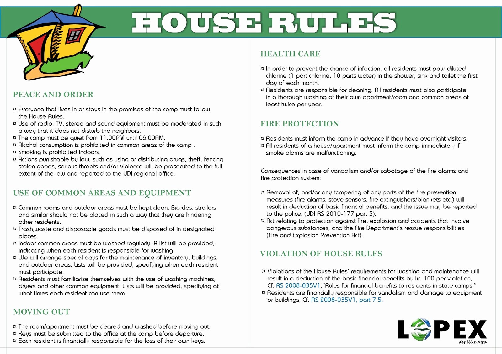 House Rules for Tenants Lovely House Rules Kvinesdal Mottak