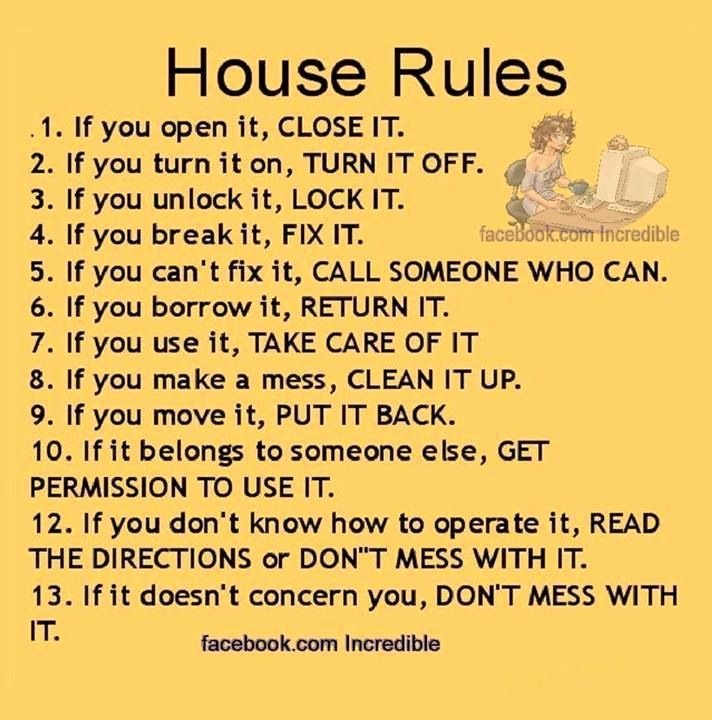 House Rules for Tenants New House Rules Sayings Quotes Pinterest