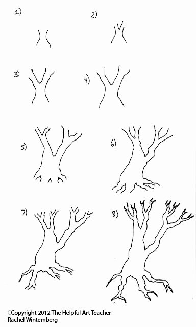 How to Draw A Simple Tree without Leaves New the Helpful Art Teacher Drawing and Painting Trees Light