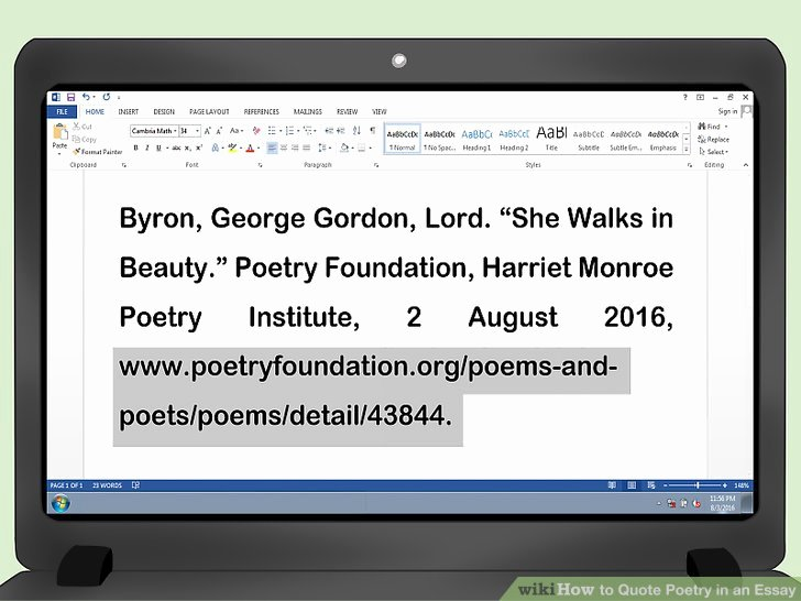 How to Quote An Essay Awesome How to Quote Poetry In An Essay with Wikihow