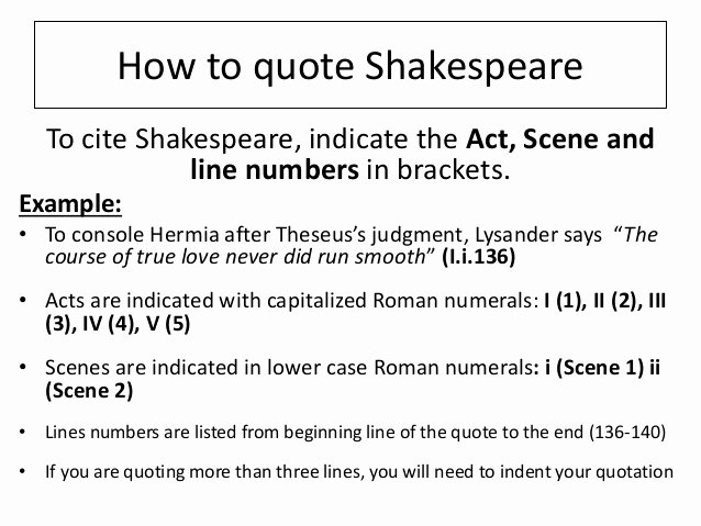 How to Quote An Essay Lovely How to Quote Shakespeare