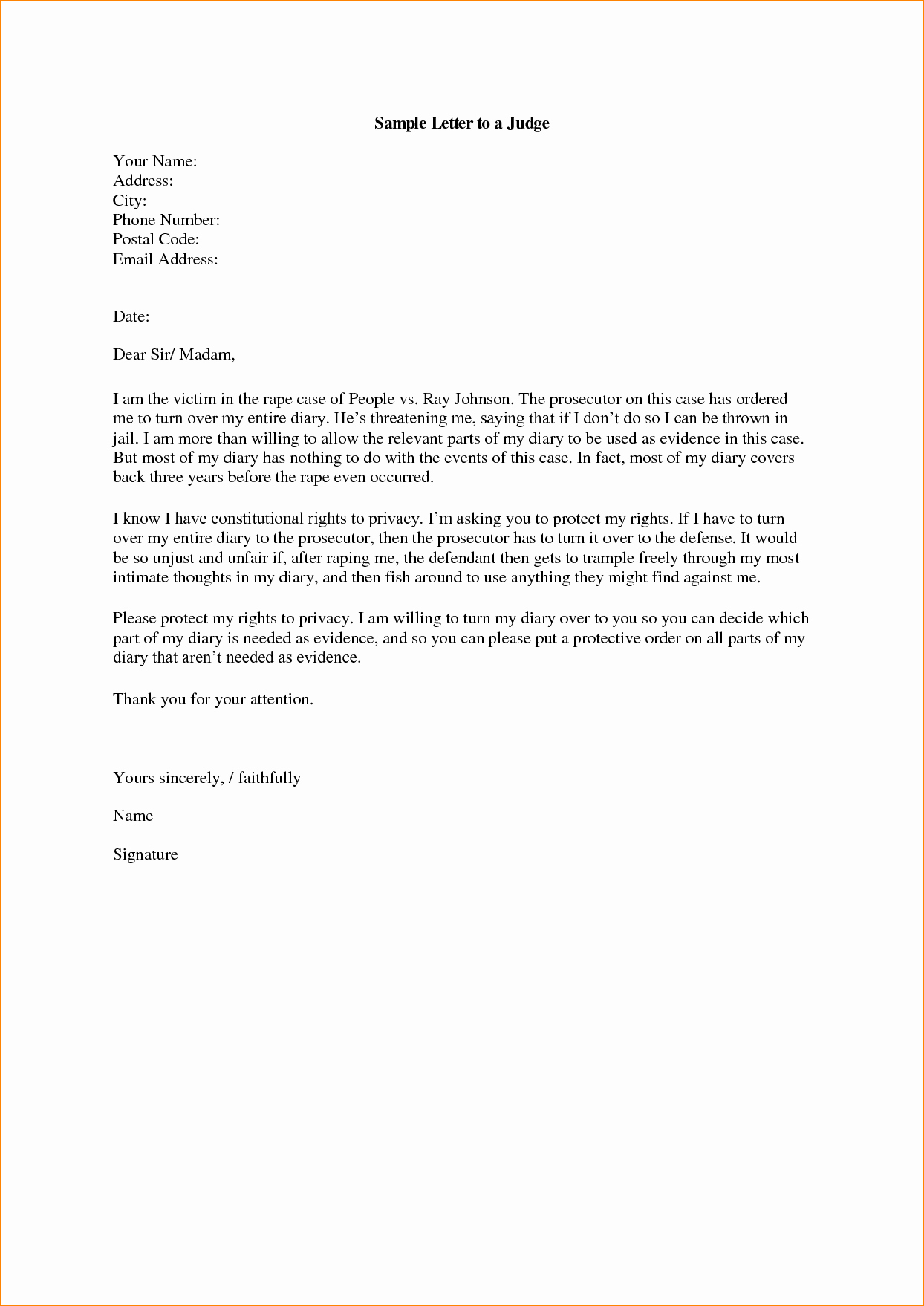How to Write A Letter to A Judge Template Unique How to Address A Letter to A Judge