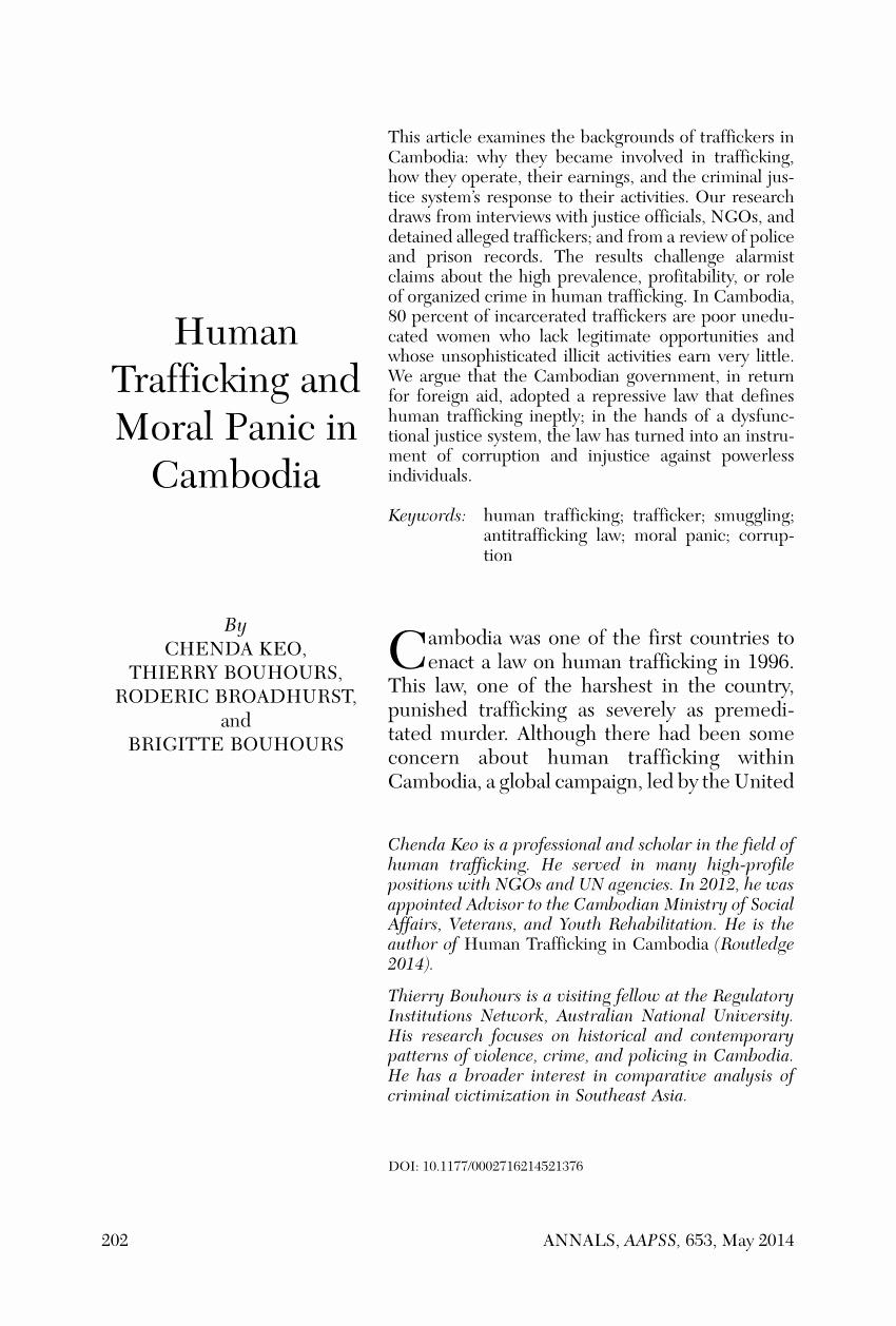 Human Trafficking Research Proposal Luxury Pdf Human Trafficking and Moral Panic In Cambodia
